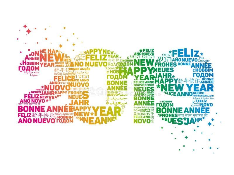 2019 - Cartão - ano novo feliz ilustração do vetor