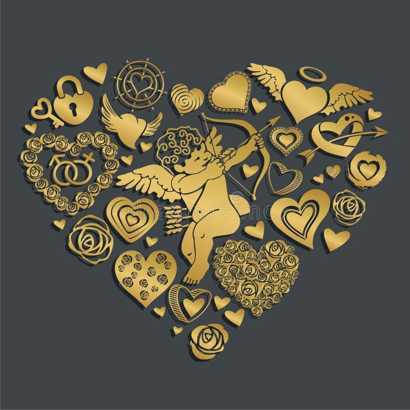 Cartão ao dia do ` s do Valentim do St ilustração do vetor