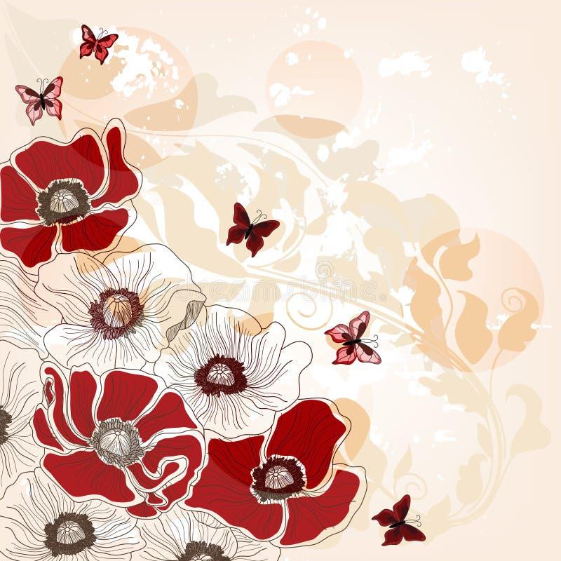 Cartão artístico com papoilas e borboletas ilustração royalty free