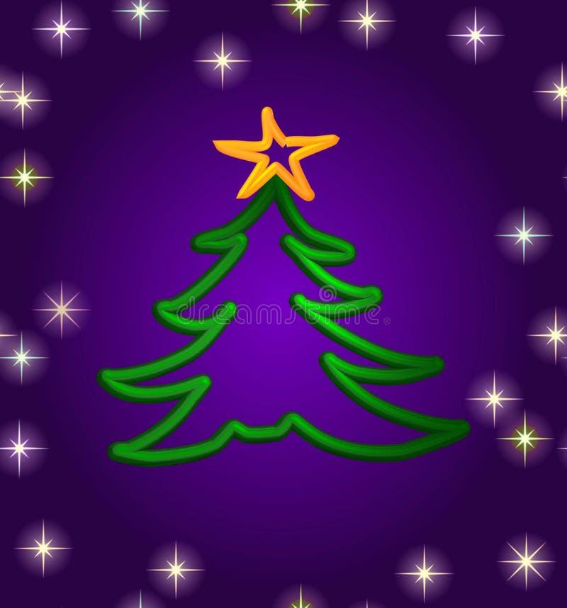 Cartão artístico da árvore de Natal ilustração stock