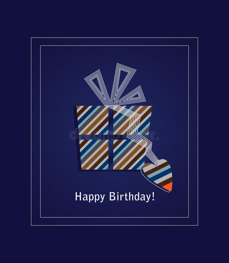Cartão azul 2 do feliz aniversario ilustração do vetor