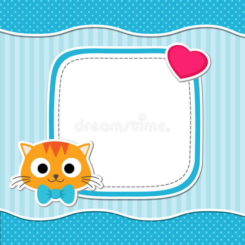 Cartão azul com gato ilustração royalty free