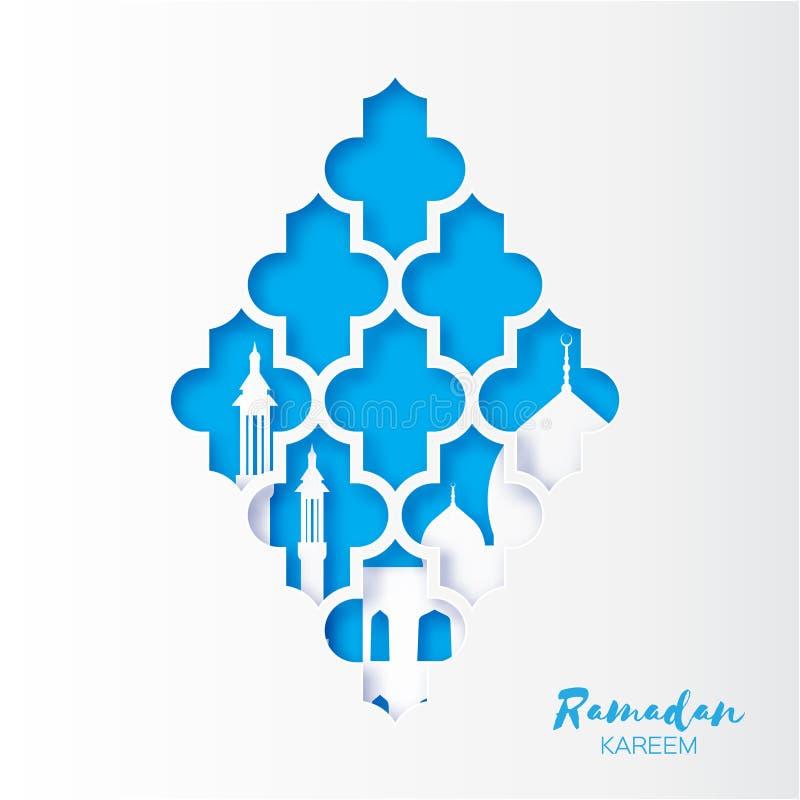 Cartão azul de Ramadan Kareem Greeting da janela da mesquita do arabesque do origâmi ilustração stock