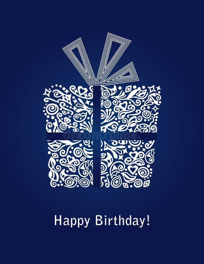 Cartão azul do feliz aniversario ilustração stock
