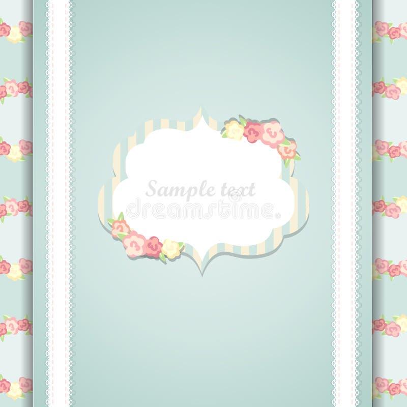 Cartão azul e cor-de-rosa bonito do feliz aniversario ilustração royalty free
