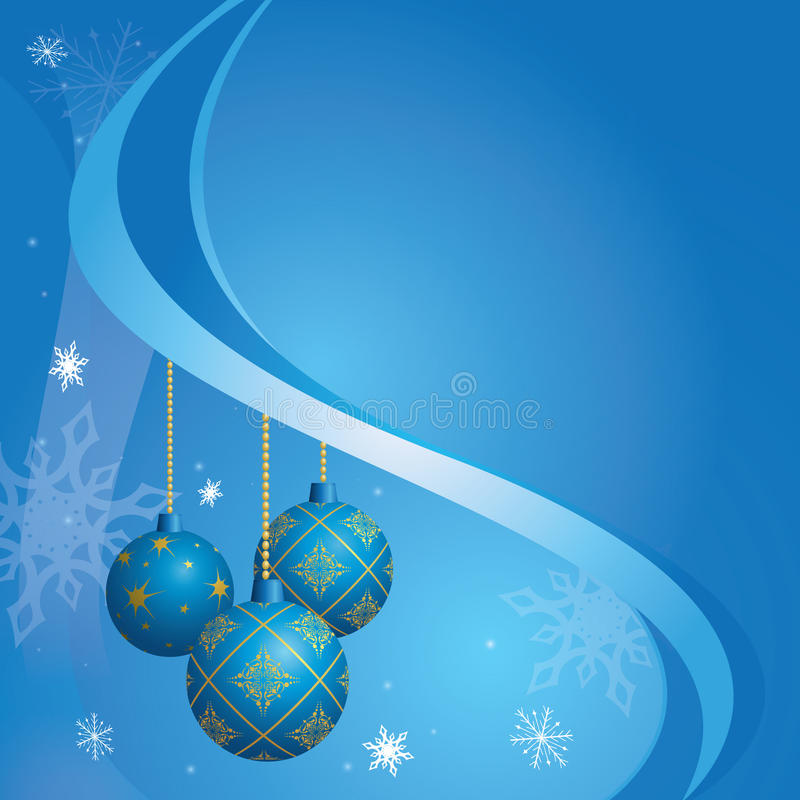 Cartão azul por feriados do Natal ilustração do vetor