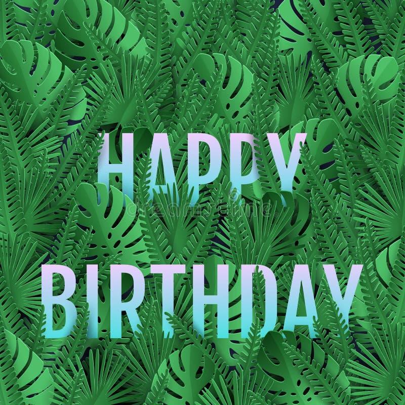 Cartão bearthday feliz com as folhas verdes tropicais ilustração do vetor