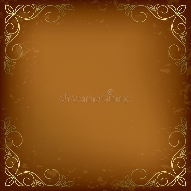 Cartão bege com a decoração dourada nos cantos ilustração stock