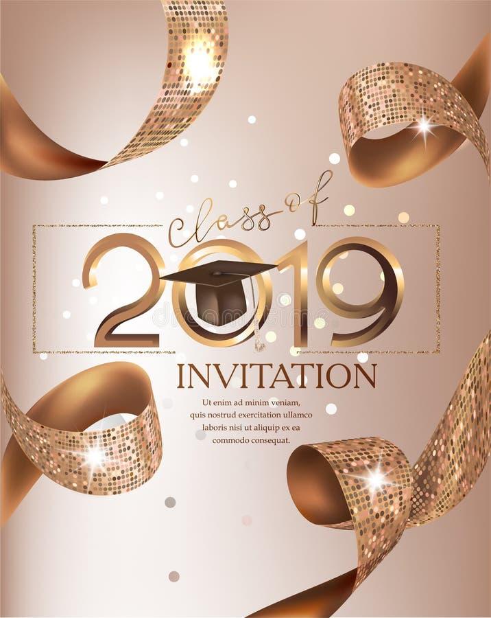 Cartão bege da classe 2019 do partido de graduação com fitas douradas ilustração do vetor