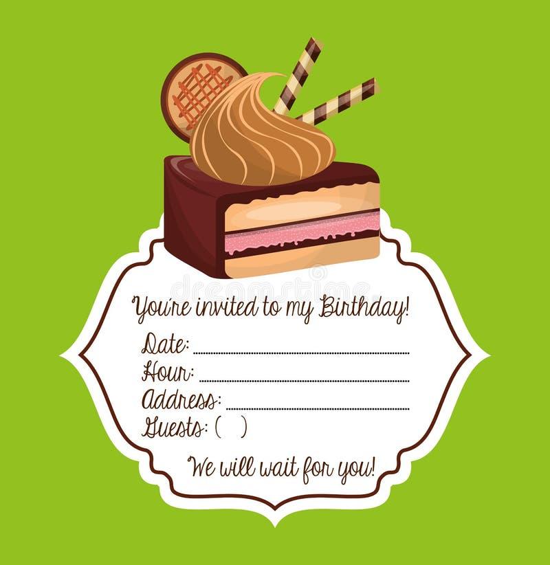 cartão birtday feliz do convite ilustração do vetor
