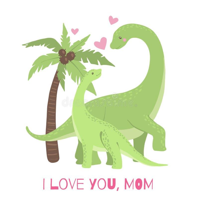 Cartão bonito com o dinossauro da mamã e do bebê ilustração royalty free