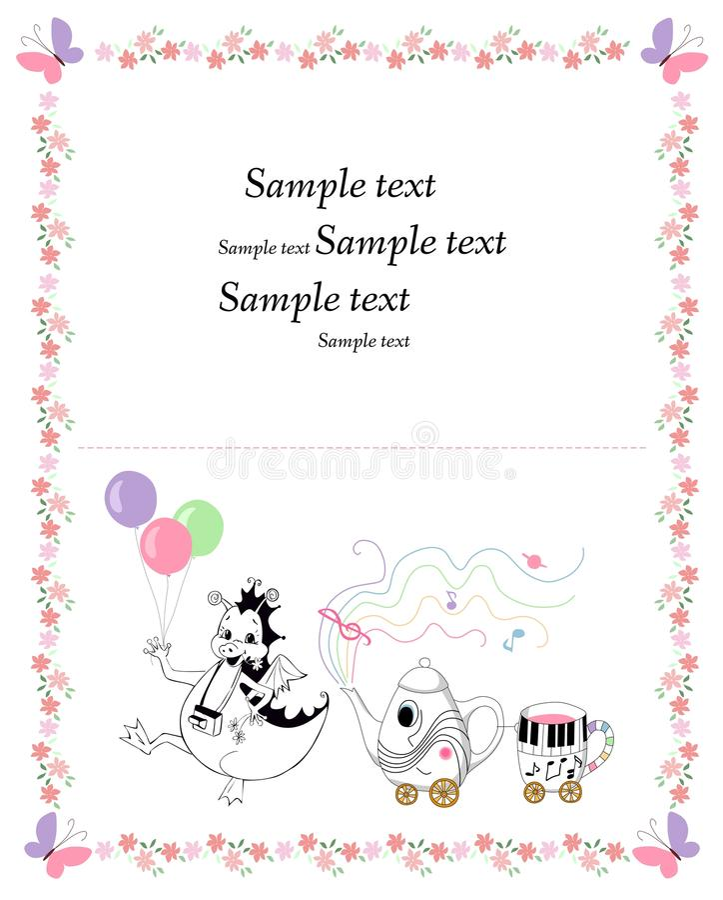 Cartão bonito com o dragão feliz com balões e bule e copo ilustração royalty free