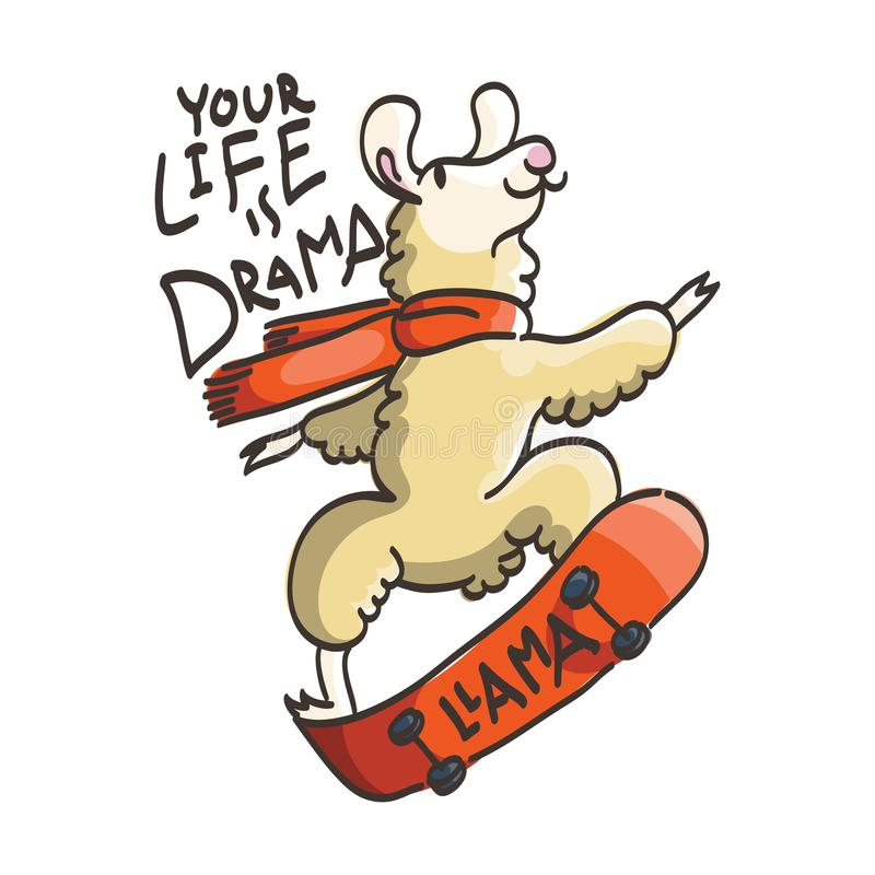 Cartão bonito com o lama do skater dos desenhos animados Citações inspiradores e inspiradas ilustração stock