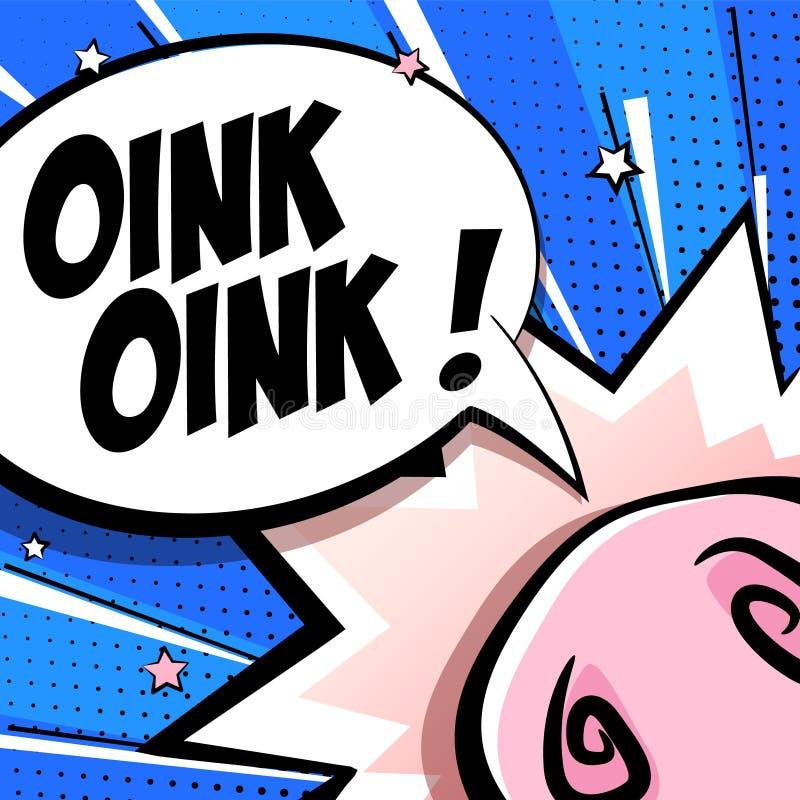 Cartão bonito com o nariz do porco dos desenhos animados, as estrelas e a nuvem do texto no fundo azul Estilo da banda desenhada  ilustração do vetor