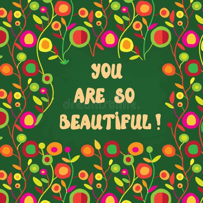 Cartão bonito com palavras bonitas e teste padrão floral ilustração royalty free