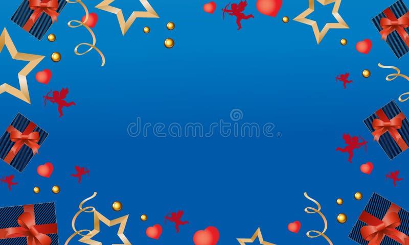 Cartão bonito com presentes, anjos bonitos e corações no dia de Valentim Ilustração do vetor ilustração do vetor