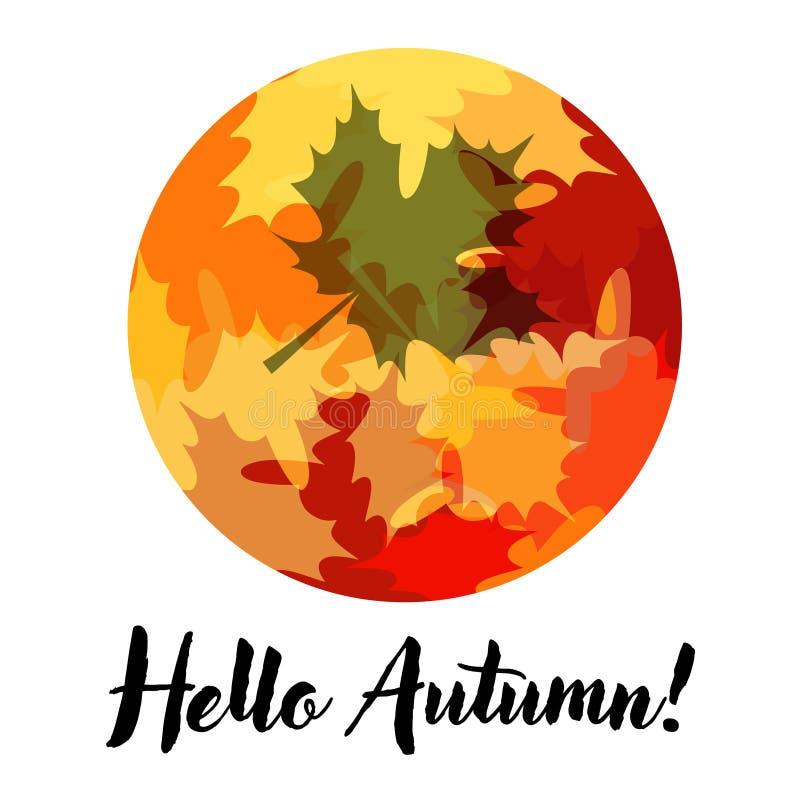 Cartão bonito com rotulação e Autumn Leaves ilustração stock