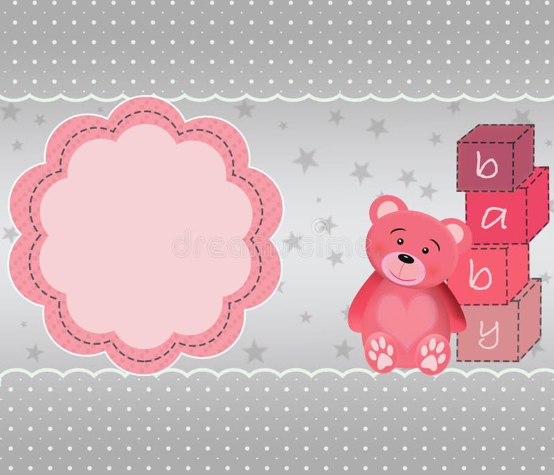 Cartão bonito com urso de peluche ilustração do vetor