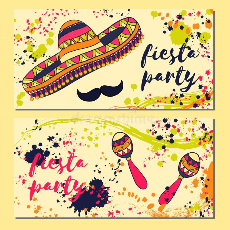 Cartão bonito, convite para o festival da festa Conceito de projeto para o feriado com maracas, sombreiro de Cinco de Mayo do mex ilustração stock