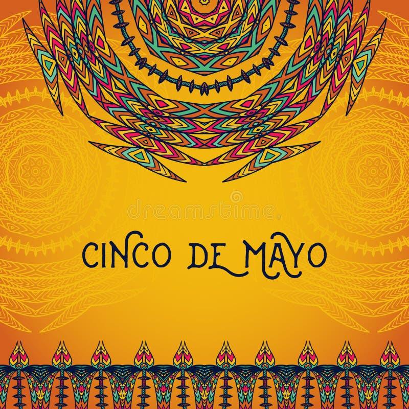 Cartão bonito, convite para o festival de Cinco de Mayo Conceito de projeto para o feriado mexicano da festa ilustração do vetor
