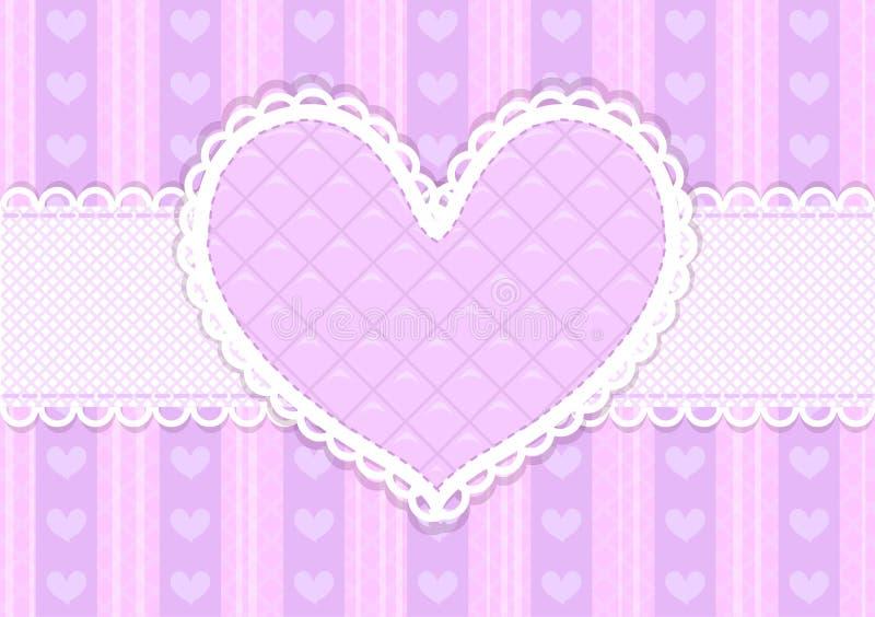 Cartão bonito cor-de-rosa e roxo do vetor dos Valentim ilustração royalty free