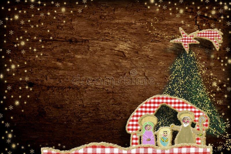 Cartão bonito da cena da natividade do Natal imagem de stock