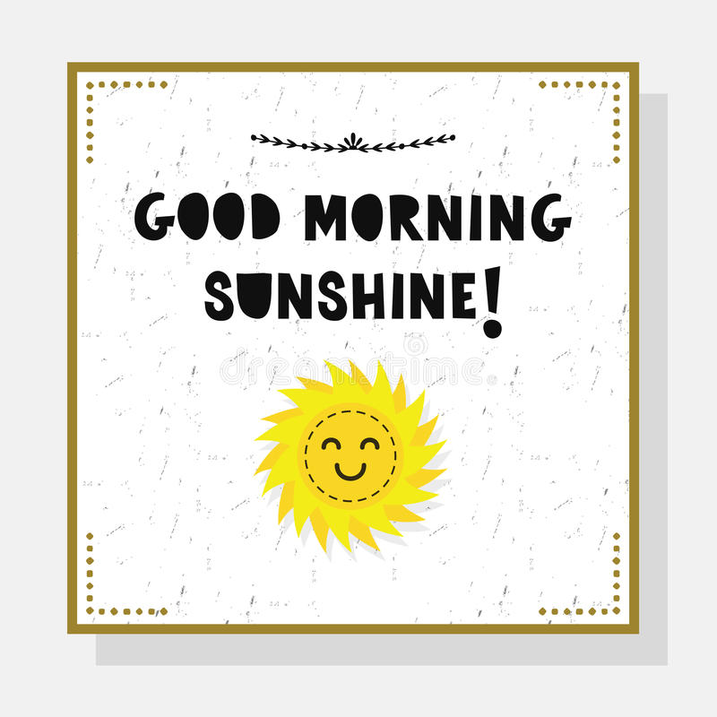 Cartão bonito da luz do sol do bom dia com emoji do sol ilustração royalty free