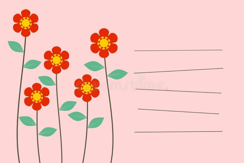 Cartão bonito da mensagem das flores no fundo pastel do tom ilustração do vetor
