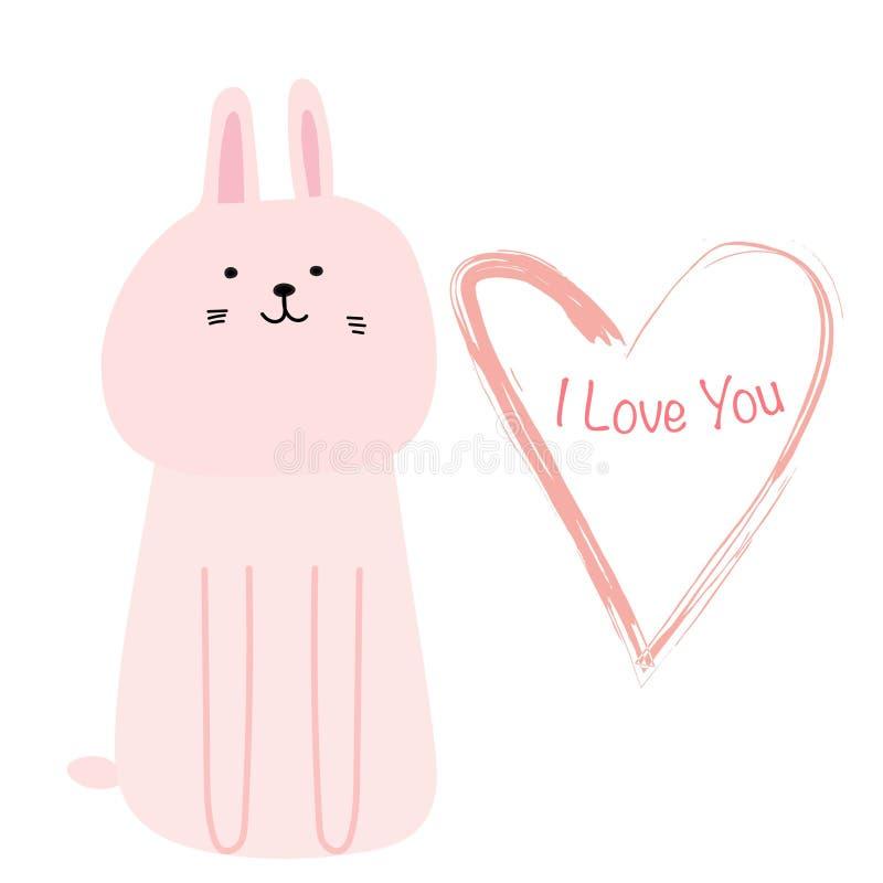 Cartão bonito da tipografia de Bunny With eu te amo Ilustração bonito do vetor do cartão da tração da mão ilustração stock
