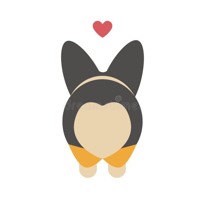 Cartão bonito de Valentine Day dos desenhos animados para seu amado Extremidade bonita do cão do Corgi numa forma de um coração C ilustração royalty free