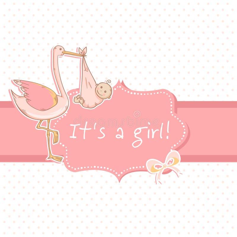 Cartão bonito do anúncio do bebé com cegonha e criança ilustração do vetor
