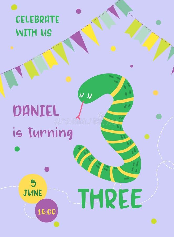 Cartão bonito do bebê do aniversário com serpente e número três, cartão do convite, inseto, cartaz, ilustração dos cumprimentos ilustração do vetor