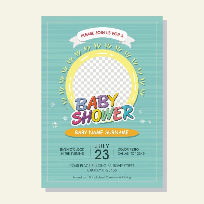 Cartão bonito do convite da festa do bebê com estilo dos desenhos animados ilustração do vetor