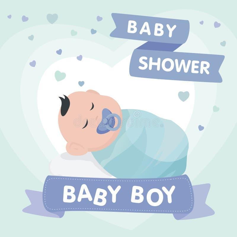 Cartão bonito do convite da festa do bebê com estilo dos desenhos animados ilustração stock