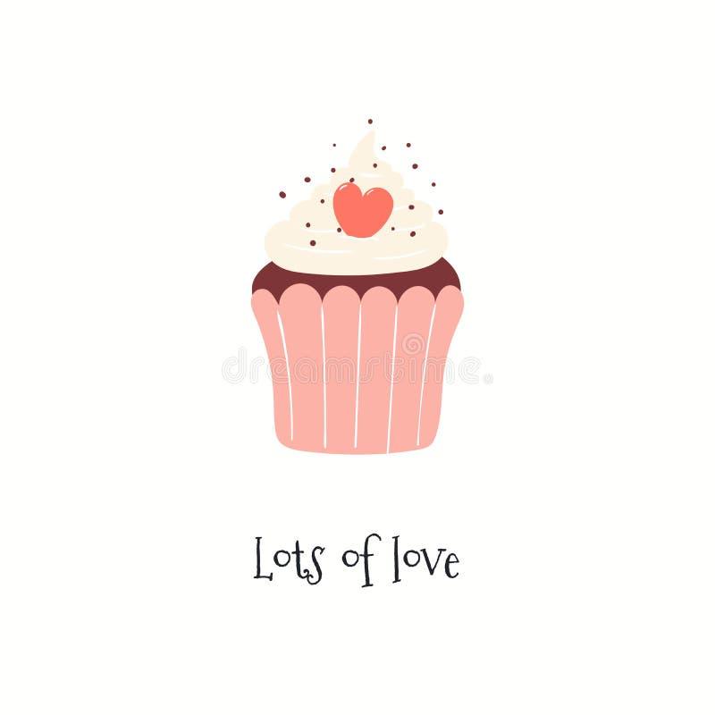 Cartão bonito do dia de Valentim com queque ilustração stock