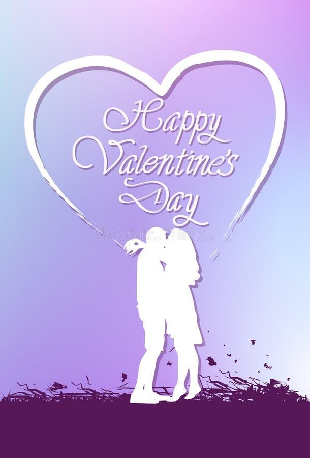 Cartão bonito do dia de Valentim com rotulação e beijo criativos da silhueta dos pares ilustração do vetor