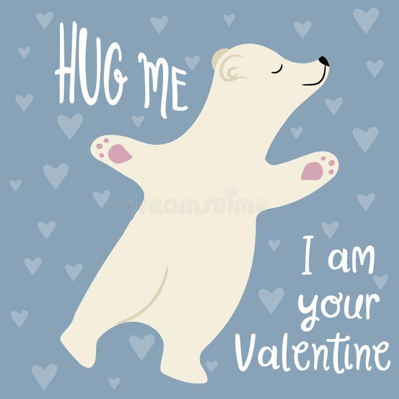 Cartão bonito do dia de Valentim com urso polar ilustração royalty free