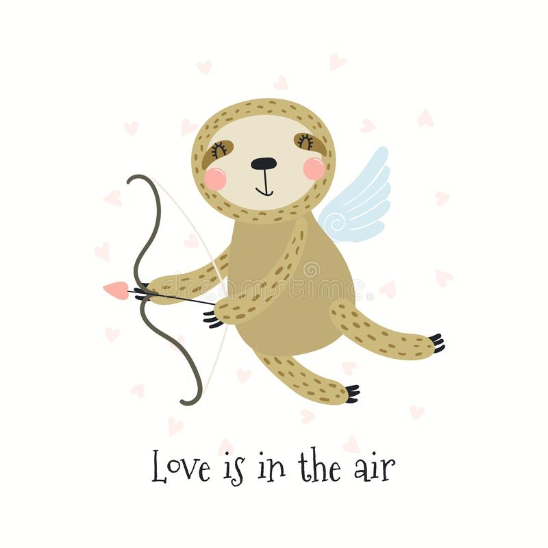Cartão bonito do dia de Valentim da preguiça ilustração royalty free