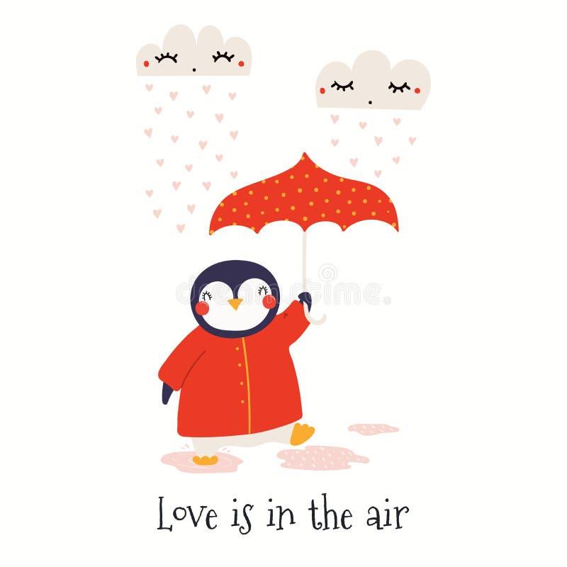 Cartão bonito do dia de Valentim do pinguim ilustração royalty free