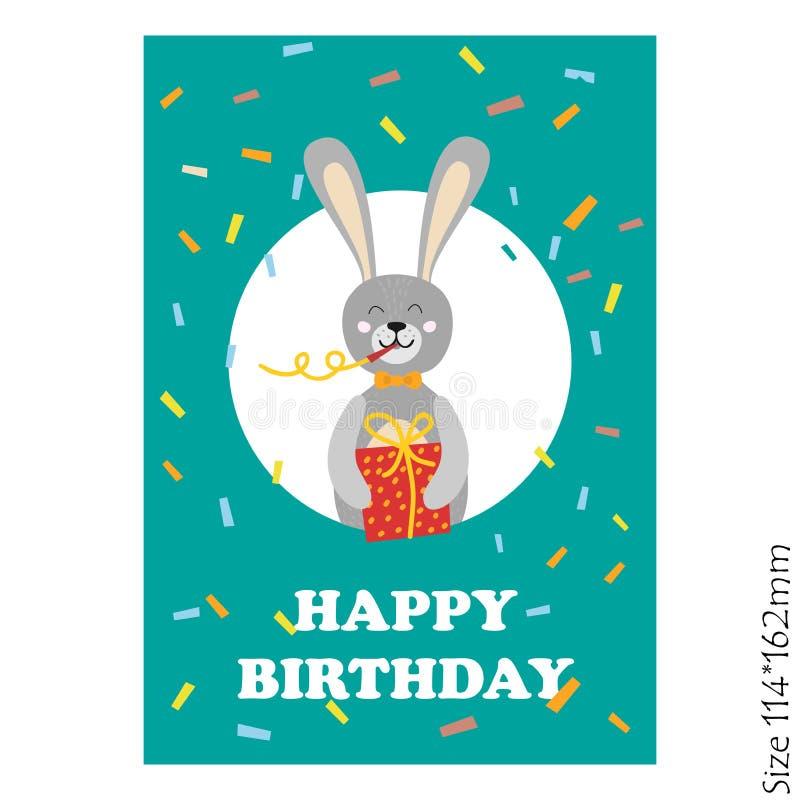 Cartão bonito do feliz aniversario com animais engraçados ilustração do vetor