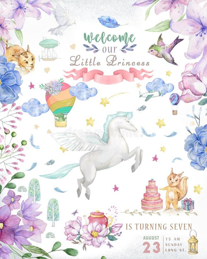 Cartão bonito do feliz aniversario com desenhos animados Pegasus Flores feericamente do rosa do boho do clipart e da beleza da aq ilustração do vetor