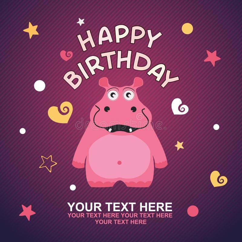 Cartão bonito do feliz aniversario com hipopótamo do divertimento. ilustração royalty free