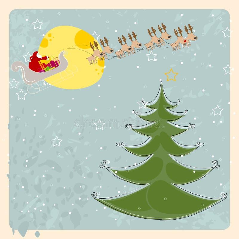 Cartão bonito do Natal com voo do trenó de Santa na parte dianteira ilustração royalty free