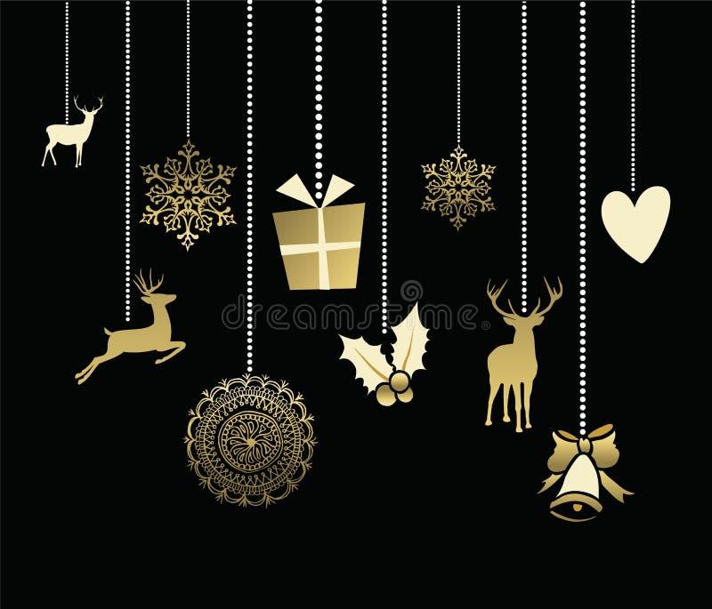 Cartão bonito do ouro dos cervos da decoração do Natal do feriado ilustração do vetor