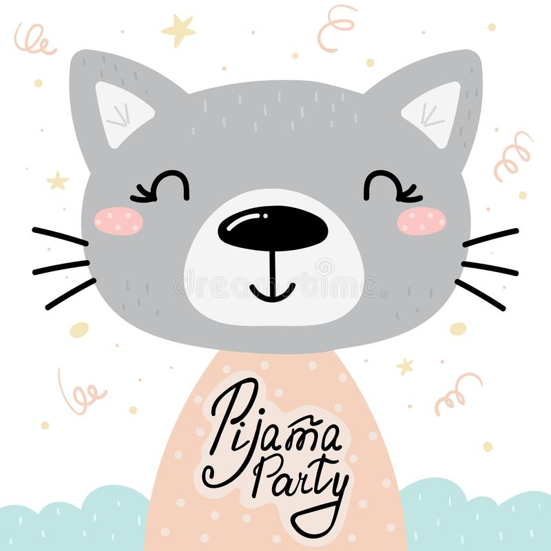 Cart?o bonito do partido de Pijama com o gato tirado m?o C?pia do vetor ilustração do vetor