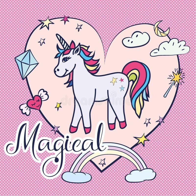 Cartão bonito do unicórnio Unicórnio mágico ilustração royalty free