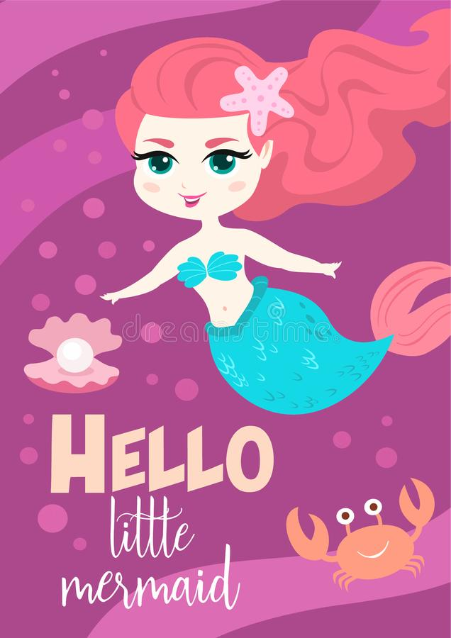 Cartão bonito do vetor dos desenhos animados com sereia pequena Cartaz do verão ilustração stock