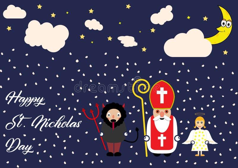 Cartão bonito dos desenhos animados com São Nicolau, anjo e caráter do diabo ilustração do vetor
