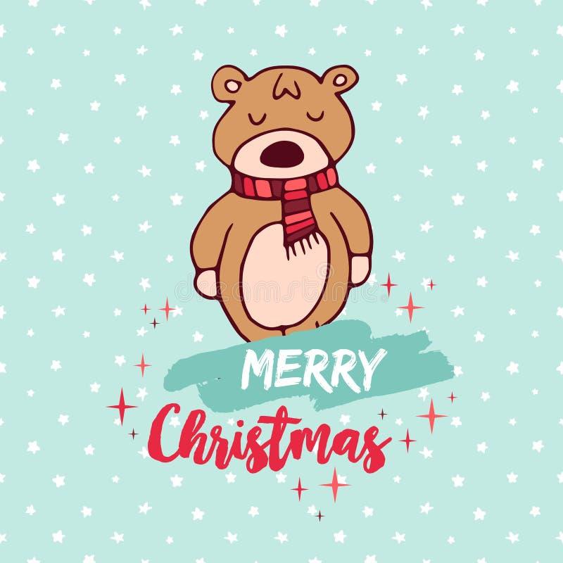 Cartão bonito dos desenhos animados do urso do bebê do feriado do Natal ilustração stock
