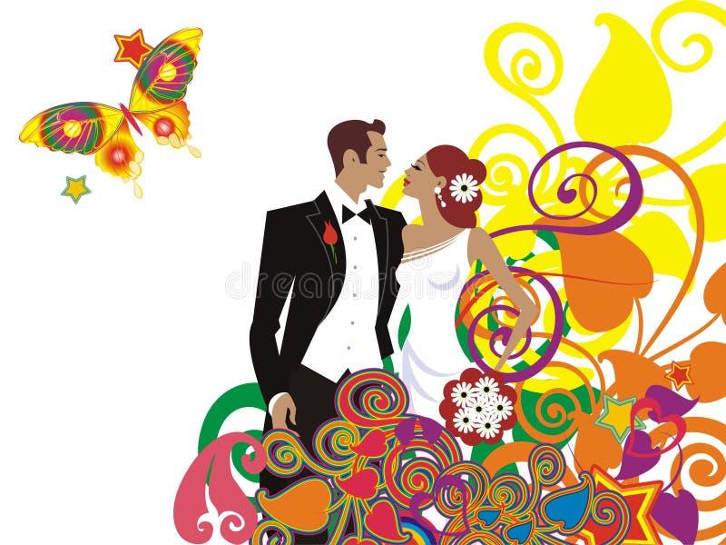 Cartão bonito dos pares do casamento ilustração do vetor